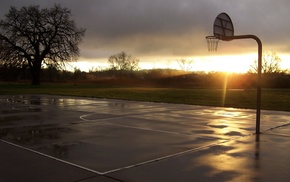 sports, sport, basketball court, sunset, basketball