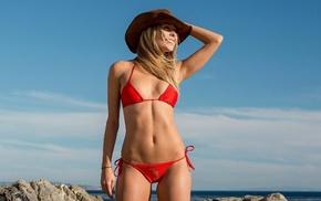 sea, blonde, bikini, looking away, red bikinis, girl