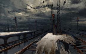 train station, artwork, railway