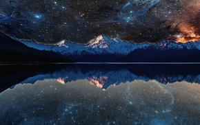photo manipulation, evening, stars, reflection, space, water