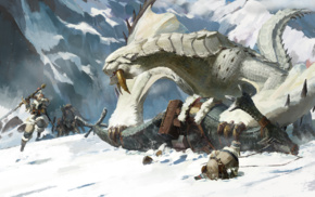 snow, Monster Hunter, heroic fantasy, dragon