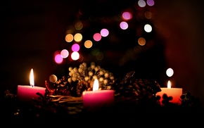 depth of field, night, candles, bokeh, baskets