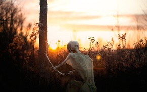 sunset, nature, skeleton