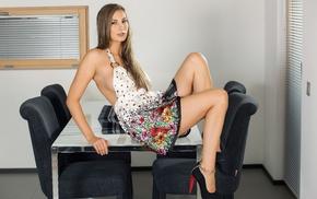 table, girl, high heels, model, Conny Lior, auburn hair