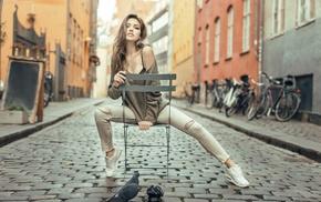 black bras, Tonny Jrgensen, lace, brunette, Svetlana Grabenko, girl outdoors