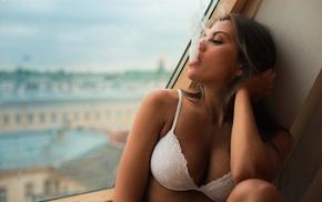 cleavage, white bra, Andres Sivtsov, Caucasian, lingerie, brunette