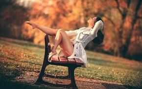 bench, model, girl