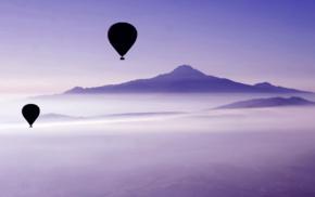 balloon, mist, mountains, landscape, photography