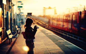 photographer, girl, railway station, photography, train, depth of field