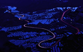 nature, photography, road, rice paddy, night, long exposure