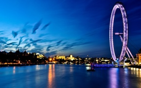 city, sea, London, river, ferris wheel, cityscape
