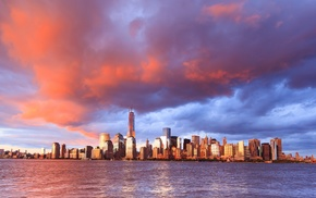 city, sea, building, cityscape, water, New York City