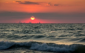 water, cityscape, waves, sunset, photography