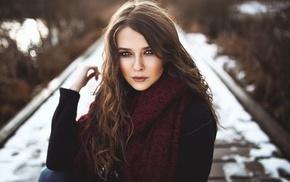 portrait, blue eyes, depth of field, Heiko Klingele, girl, brunette
