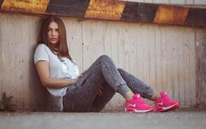 sitting, red nails, Heiko Klingele, sneakers, brunette, girl outdoors