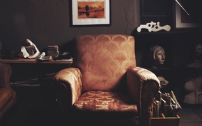 vintage, books, paper, chair, statue, room