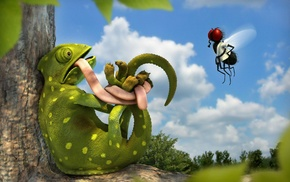 animals, 3D, bound, humor, clouds, chameleons