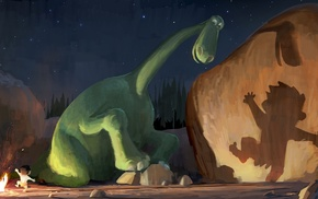 stars, The Good Dinosaur, fire, dinosaurs, night, dancing