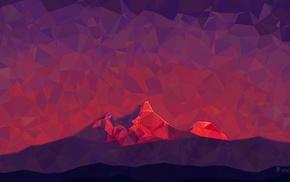 hills, 2D, low poly, minimalism, triangle, digital art