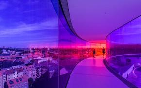 people, panorama, lights, house, glass, hallway