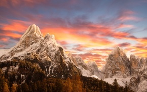 sunset, nature, Italy, mountains, snowy peak, sky