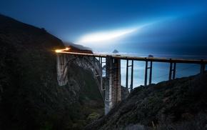 California, sea, blue, light trails, landscape, bridge