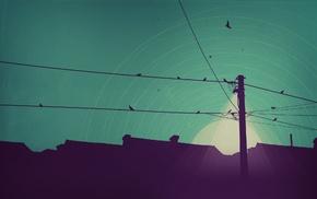 house, digital art, lights, utility pole, minimalism