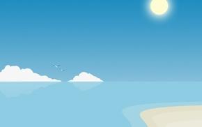 minimalism, water, blue, sea, digital art
