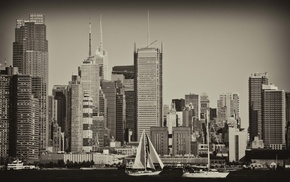 photography, urban, boat, city, building, skyscraper