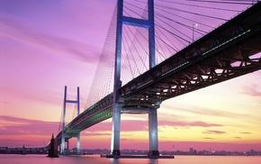 photography, water, architecture, urban, city, Yokohama Bay Bridge
