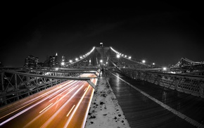 city, architecture, New York City, selective coloring, night, urban