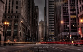 photography, Chicago, city, street, light trails, long exposure