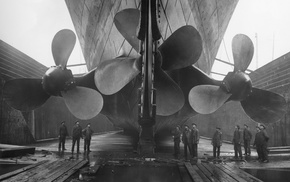 vintage, monochrome, Titanic, photography, ship, workers