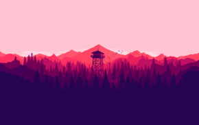 artwork, colorful, mountains, forest, landscape, fire lookout tower
