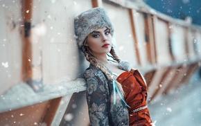 girl, hat, model, snow
