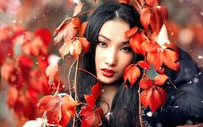 depth of field, brunette, model, looking at viewer, leaves, girl outdoors