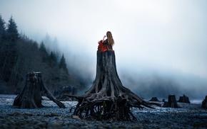 nature, tree stump, girl, girl outdoors, landscape, fantasy art
