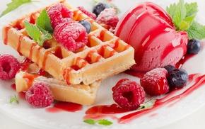 berries, dessert, waffles
