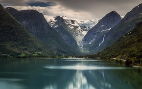 Jostedalsbreen National Park, mountains, water, Norway, nature, glaciers