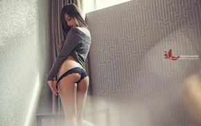 ass, back, girl, tugging clothes, closed eyes, panties