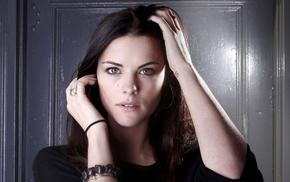 looking at viewer, actress, portrait, Jaimie Alexander, girl, hands on head