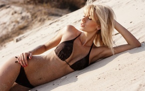 model, blonde, sand, bikini, skinny, hands on head