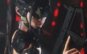 gun, futuristic, artwork, girl