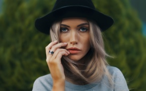 face, model, portrait, girl, hat, blonde
