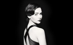 girl, celebrity, looking at viewer, Emilia Clarke, brunette, simple background