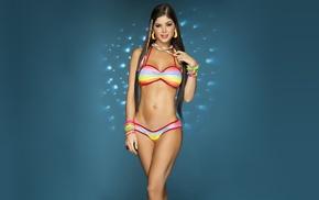 brunette, blue background, Mariana Davalos, bikini, model, Davalos sisters