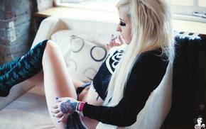 socks, Suicide Girls, tattoo, shorts, blonde