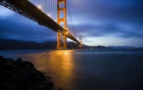 bridge, Golden Gate Bridge, landscape, sea, nature, coast