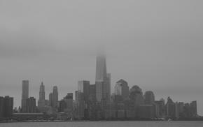 building, water, mist, New York City, city, urban