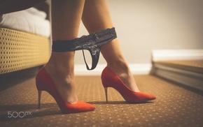 girl, lingerie, Robert Deska, red heels, thong, strings